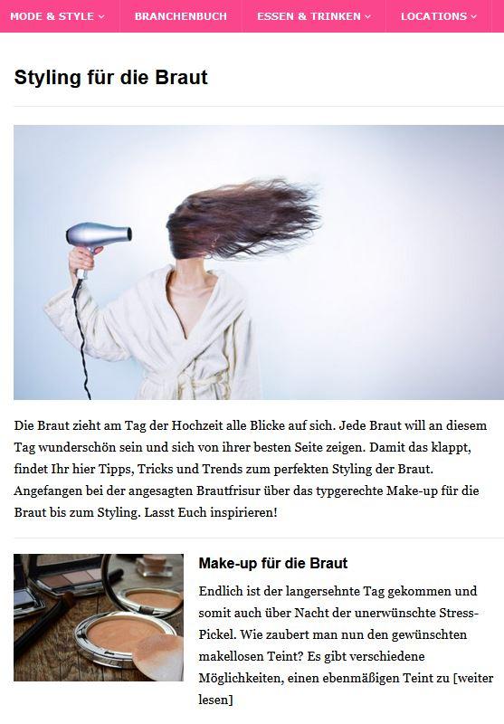 Neue Rubrik: Styling & Beauty-Tipps für die Braut
