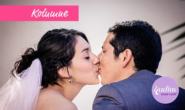 Brautpaar küsst sich